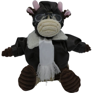Plush - Pilot Toys Junior Cow Pilot Plush Corduroy Aviator 12""