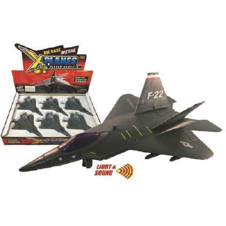 """Pull Back Planes - 8"""" F-22 Raptor W/Light And Sound Pullback Toy (1 Piece / Assorted Styles)"""