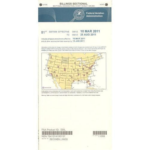 VFR Sectional Aeronautical Charts - FAA Billings Sectional - Expires February 25, 2021