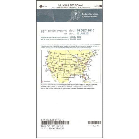 VFR Sectional Aeronautical Charts - FAA St Louis Sectional - Expires November 5, 2020