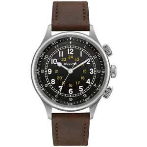 Watches - Bulova Watches A-15 Pilot Watch, Brown Leather Strap