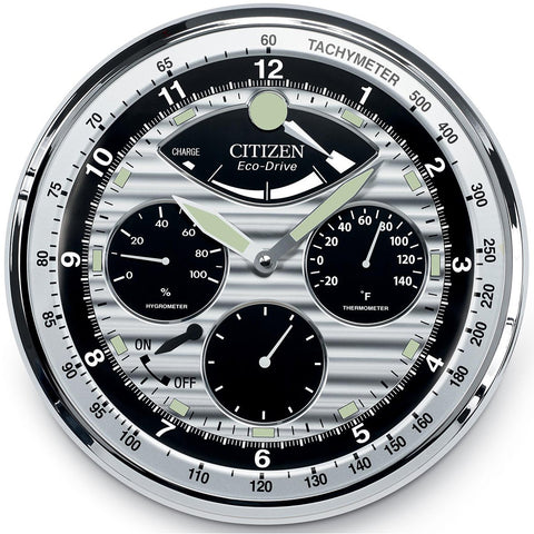 Watches - Citizen Gallery Silver-Tone Hygrometer-Thermometer Wall Clock