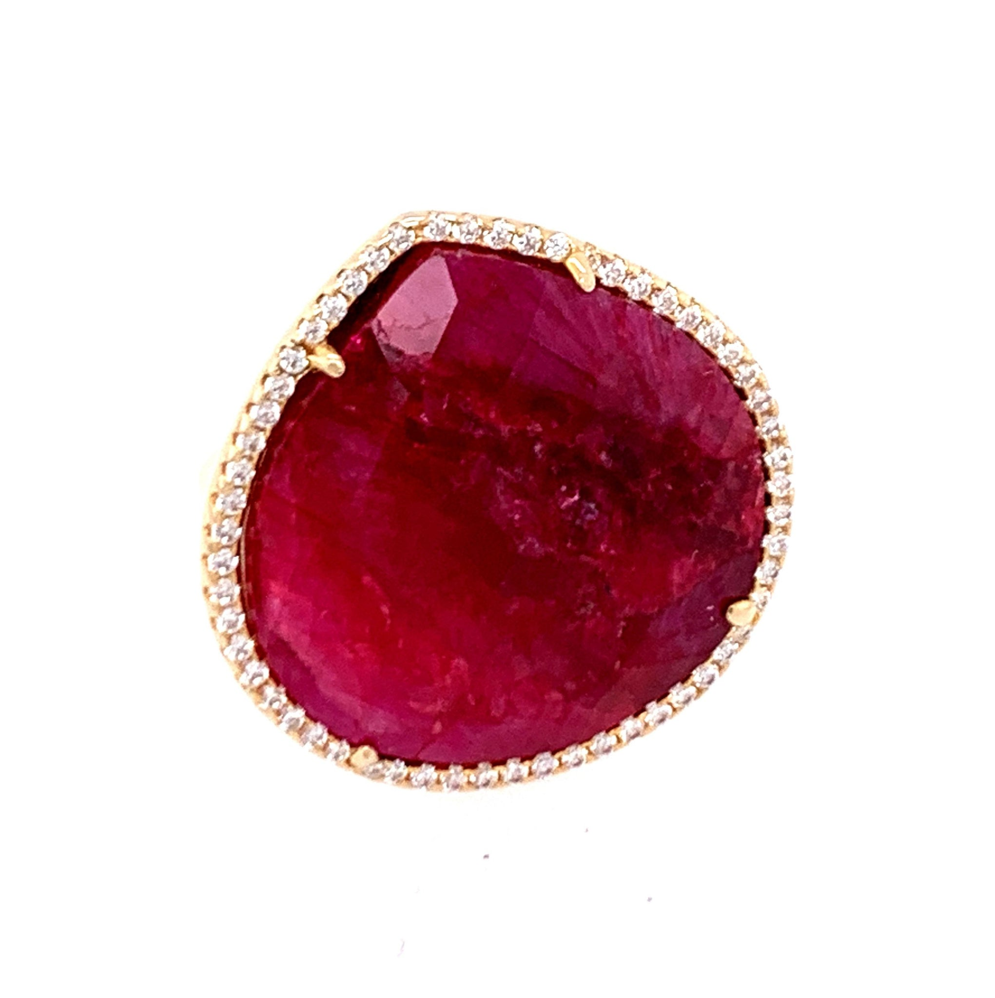 Ruby Teardrop and CZ 14kt Gold Vermeil Ring