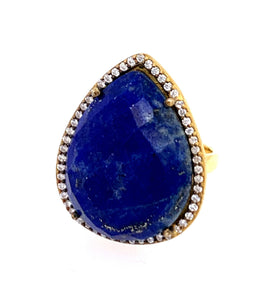 Turquoise Square oval egg Cut CZ 14kt Gold Vermeil Ring lapis