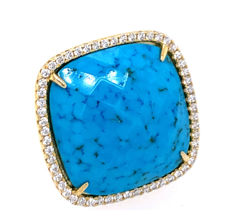 Turquoise Square Cut CZ 14kt Gold Vermeil Ring
