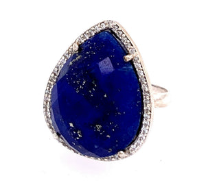 Lapis Teardrop and CZ Sterling Silver Ring gold