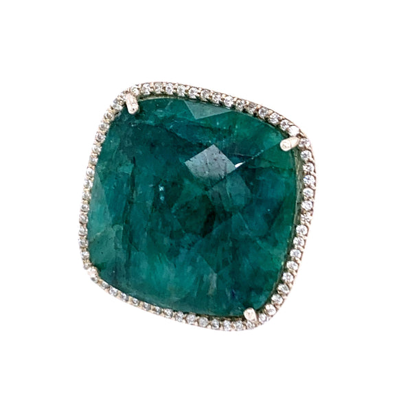 Emerald Square Cut and CZ Sterling Silver Vermail Ring
