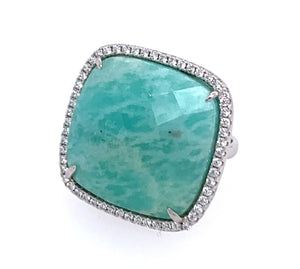 Amazonite Square Cut CZ Sterling Silver Vermail Ring