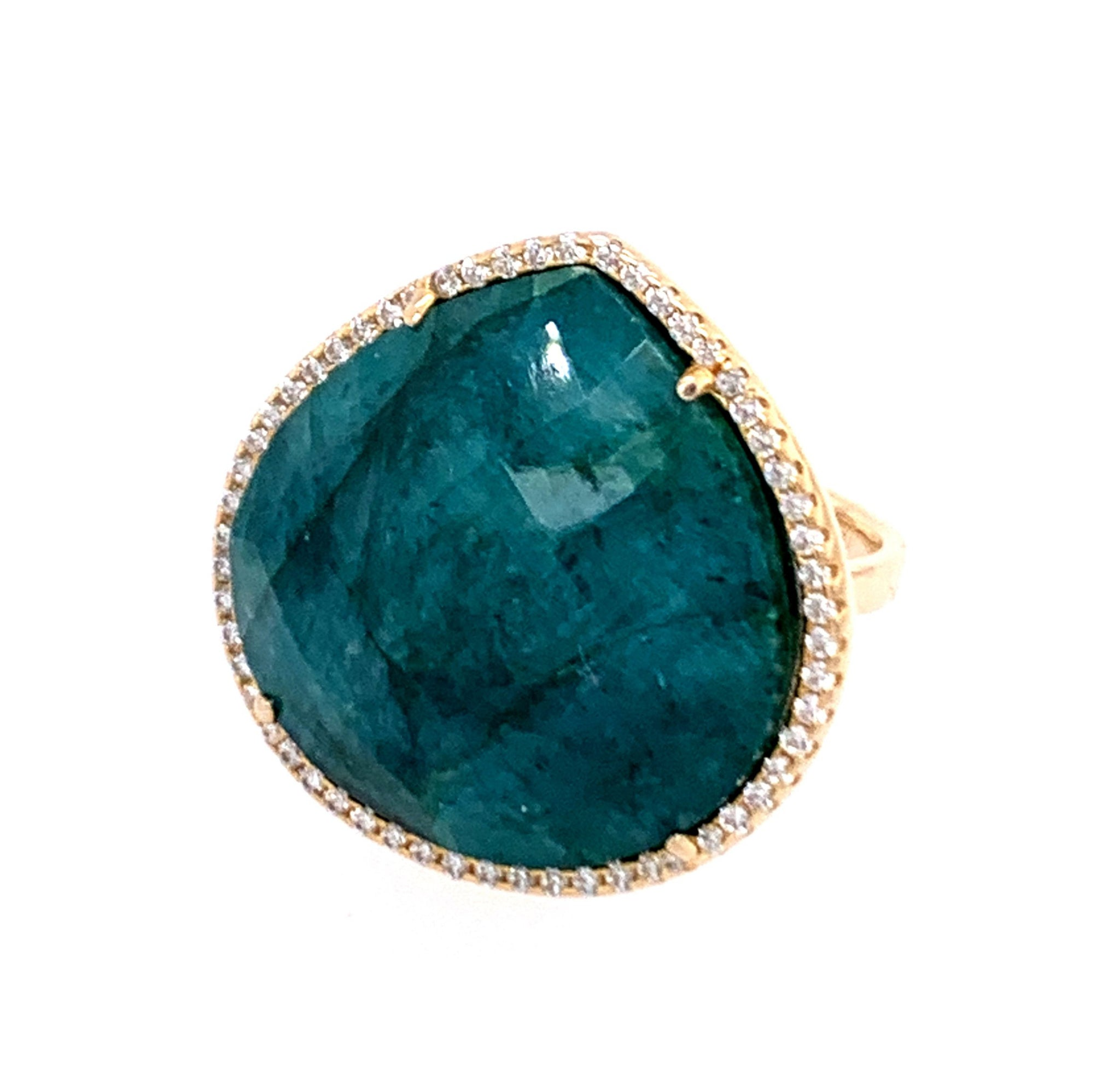 Turquoise Square oval egg Cut CZ 14kt Gold Vermeil Ring emerald lapis