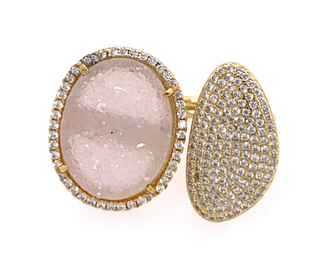 Double Druzy and Pave CZ 14kt Gold Vermeil Ring