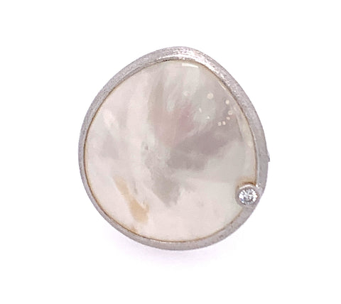 Mother of Pearl (MOP) w/ White Topaz Sterling Silver Ring