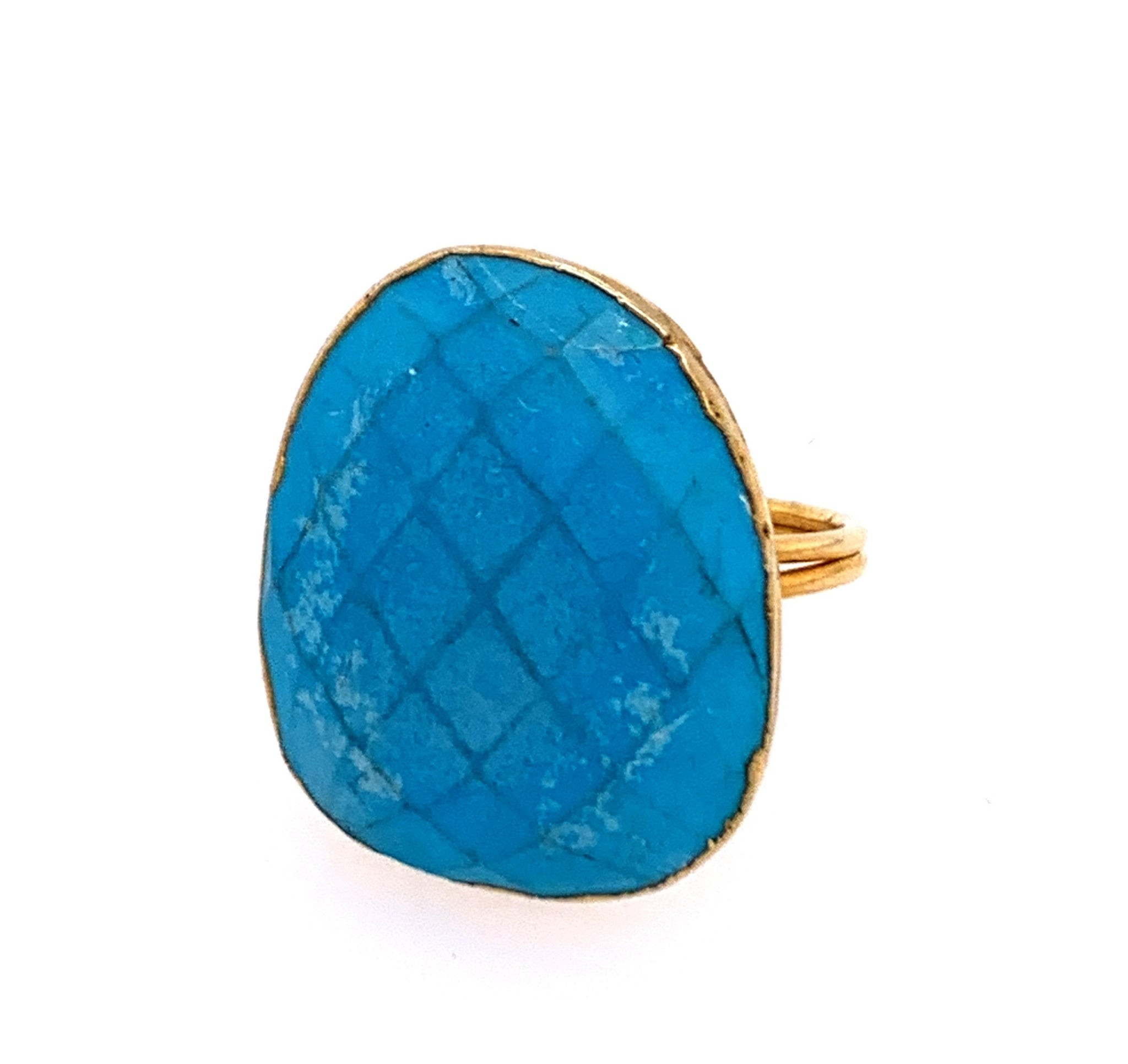 Turquoise Faceted Freeform 14kt Gold Vermeil Ring