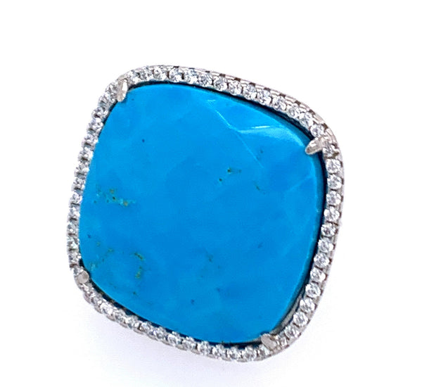 Turquoise Square Cut CZ Sterling Silver Vermail Ring