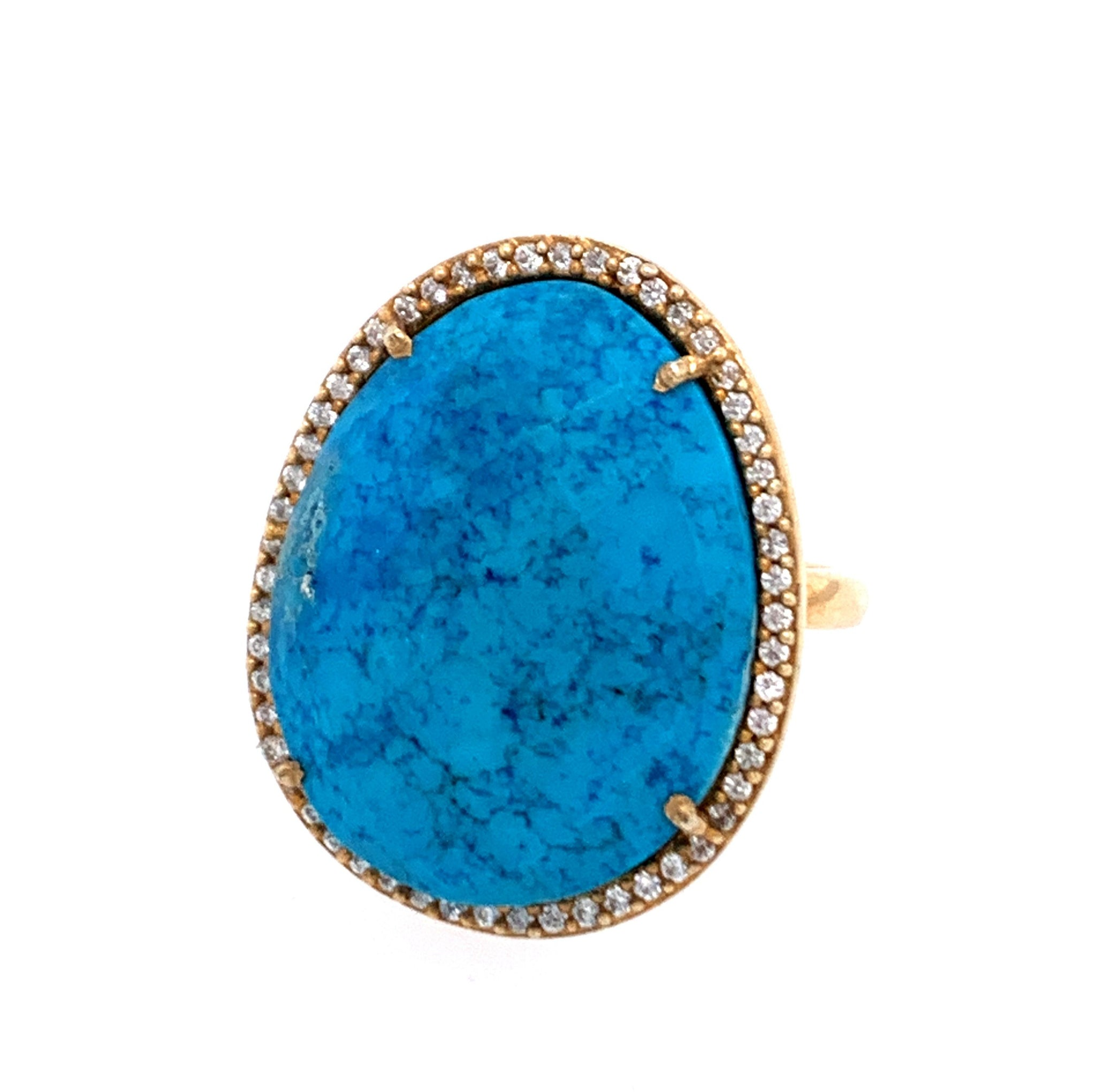 Turquoise Square oval egg Cut CZ 14kt Gold Vermeil Ring