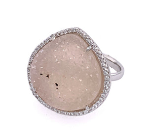 Druzy White Spotted Teardrop CZ Silver Ring