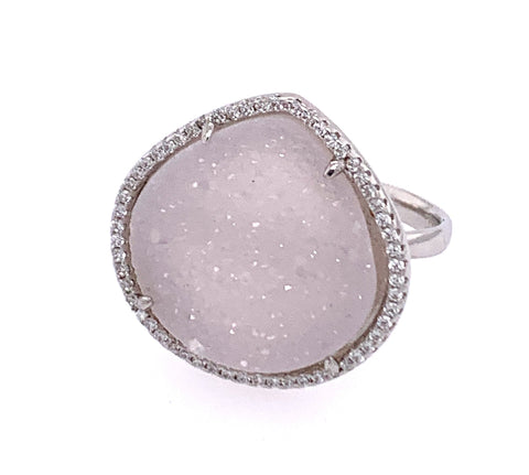 Druzy White Sparkle Teardrop CZ Silver Ring