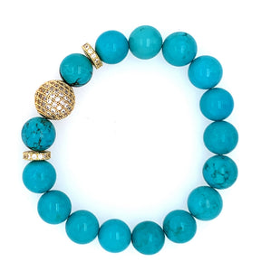 Turquoise Pave Gold BLING Stone Bracelet - Gold turquoise agate