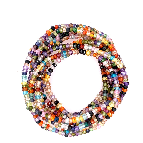 "Multi Semi-Precious Small Faceted 68"" Infinity Long Necklace"