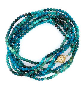"Chryscolla Multi Wear 52"" Long Necklace or Bracelet with Magnet faceted"