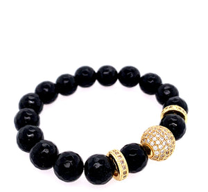 Black onyx bling gold pave cz bracelet gemstone google facebook