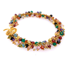 Multi Colorful Semi-Precious Stone Shimmer Bracelet gold silver google amazon facebook instagram youtube single