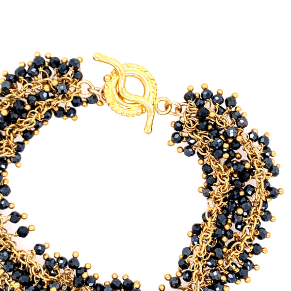 Spinel (Black) Gemstone Double Shimmer Bracelet - Gold