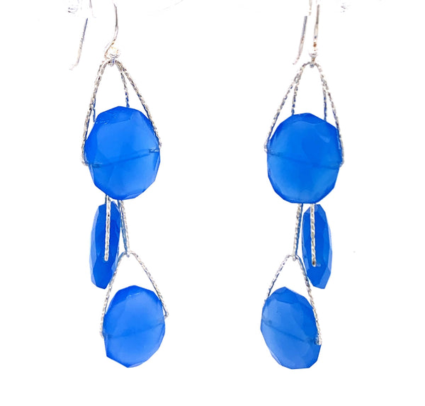 "Royal Blue Chalcedony 2 Stone ""Academy"" Earring facebook youtube"