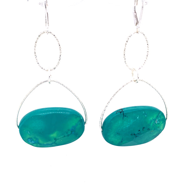 Turquoise Howlite Large Stone Lovelier Earrings - Silver google youtube facebook