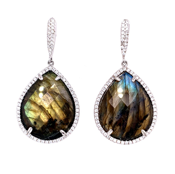 Emerald Teardrop Cut CZ Sterling Silver Post Earrings google youtub faceook instagram gold turquoise labradorite