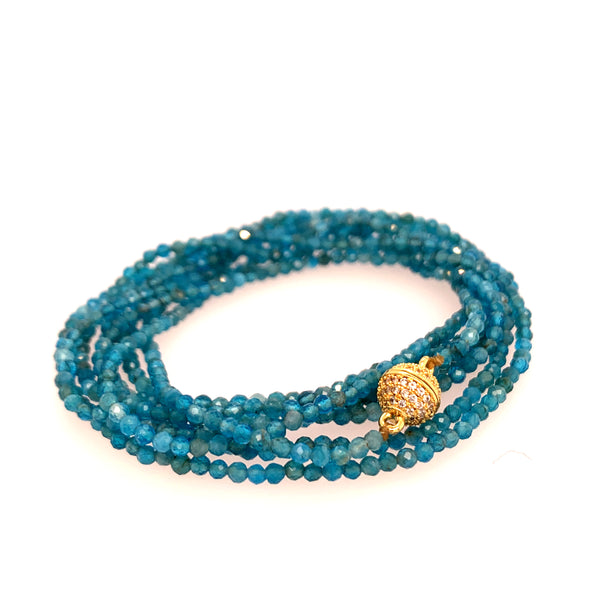 "Sapphire Faceted 100"" Infinity Long Necklace google youtube facebook lapis aquamarine multi stone semi precious turquoise spinel black blue apatite chrysocolla kynite"