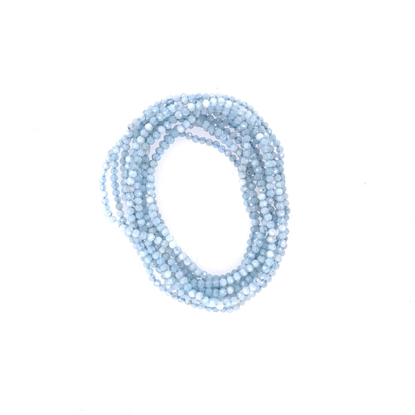 "Aquamarine Faceted 68"" Infinity Long Necklace"