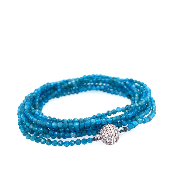 "Apatite Aqua Multi Wear 52"" Long Necklace or Wrap Bracelet"