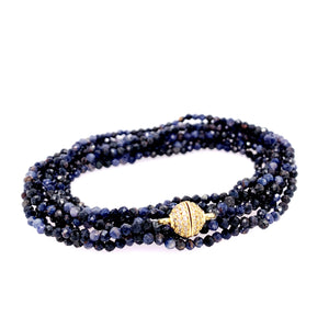 "Sapphire Semi-Precious Multi Wear 52"" Long Necklace or Wrap Bracelet, Gold"