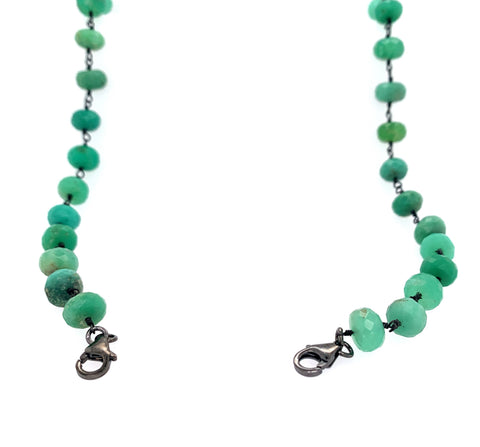 "Chrysoprase MASK Holder & Multi Wear 27"" Necklace & Bracelet - Black Silver"