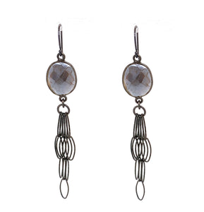 Mystic Gray Moonstone Tassel Bottom, Oxidized Silver