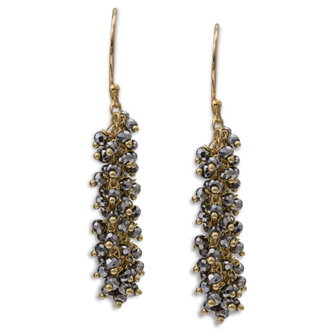 "Pyrite Gemstone Gold ""Shimmer"" Earring - Medium"