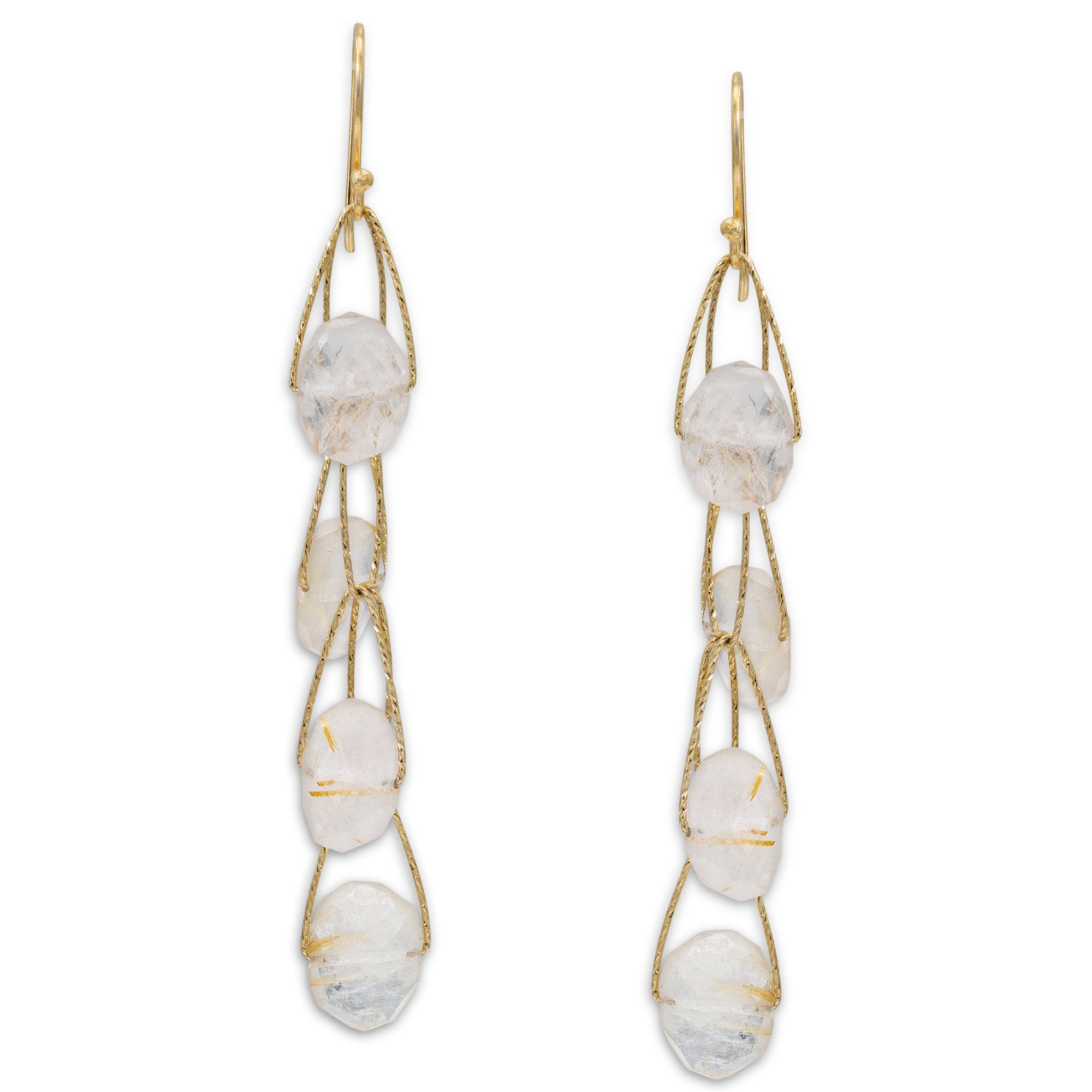"Golden Rutilated Quartz 4 Stone ""Academy"" Earring Long Gold Silver Semi-precious earrings"