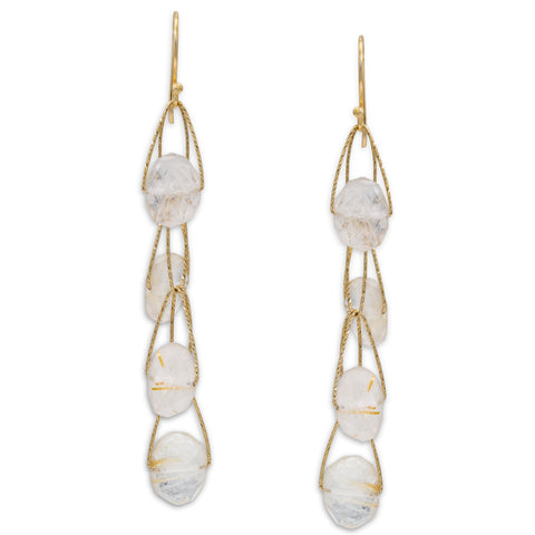 "Golden Rutilated Quartz 4 Stone ""Academy"" Earring"