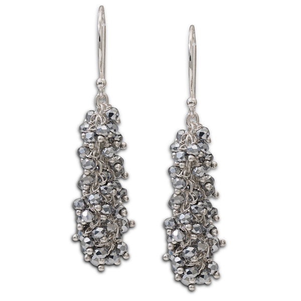 "Pyrite Gemstone Silver ""Shimmer"" Earring - Medium"