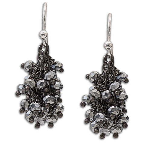 "Pyrite Gemstone Oxidized Silver ""Shimmer"" Earring - Mini"