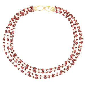 "Rich, Gorgeous Garnet.  The Cleo Necklace in 4 Strand Necklace - All Semi Precious Stones  18kt Gold Vermeil  Shortest Strand 17-18' inches, Longest Strand 24-25""  Available in: Amethyst, Lapis, Garnet, Natural Emerald, Labradorite, Iolite, Mystic Black Spinel, Chalcedony, Gold Filled, Sterling Silver  Available in 1, 2, 3 and 4 Strands"