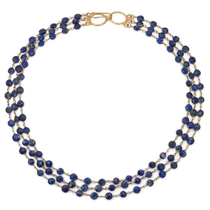 "Lapis Triple Strand ""Cleo"" Necklace - Gold"