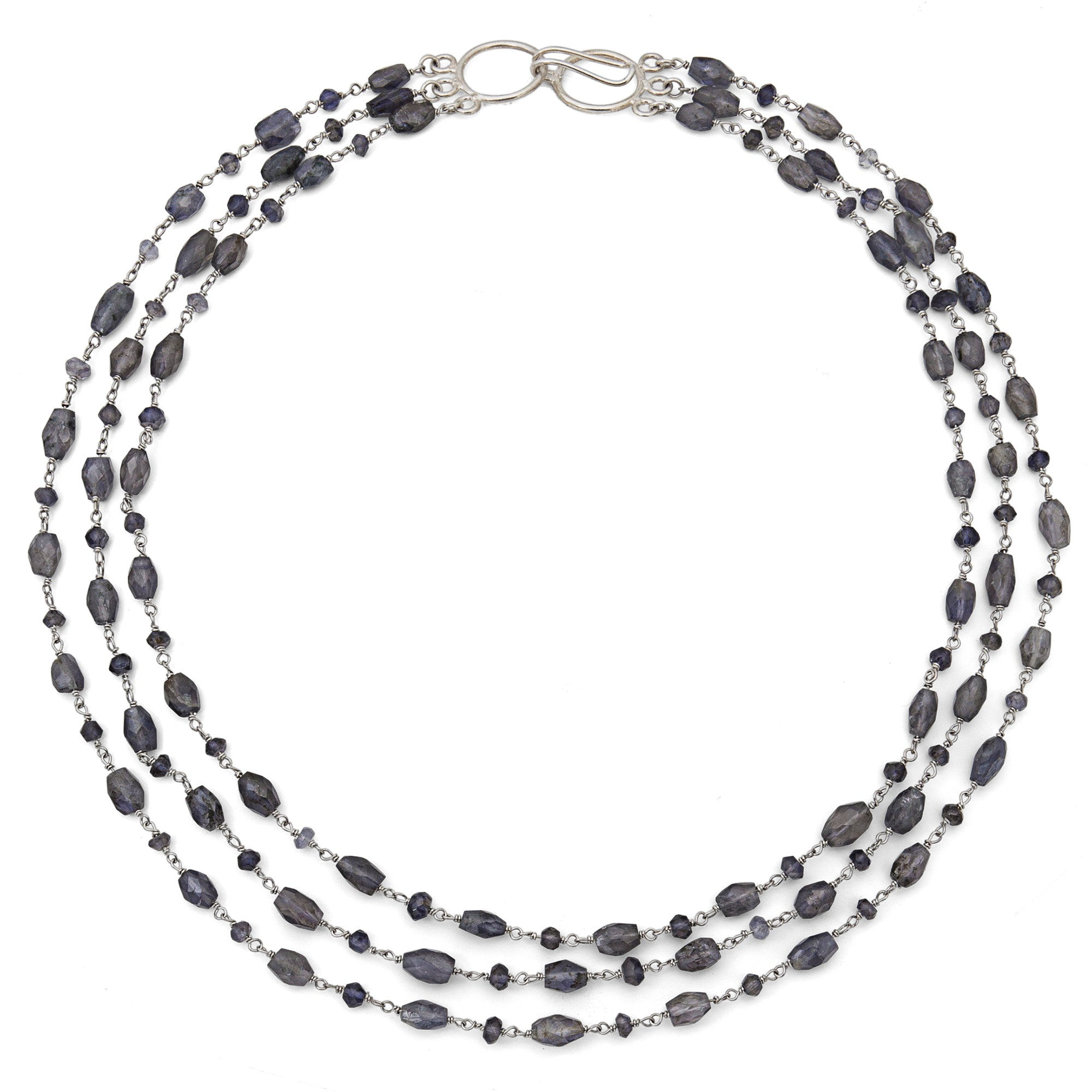 "Iolite Triple Strand ""Cleo"" Necklace - Silver"