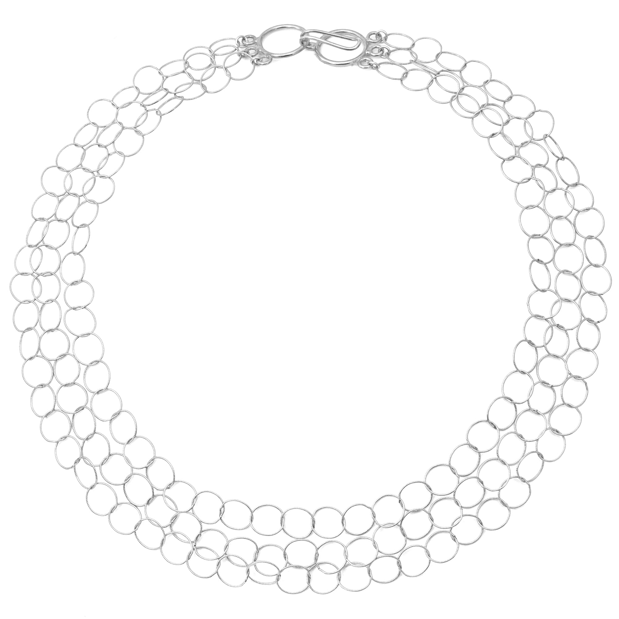 "Sterling Silver Triple Strand ""Cleo"" Necklace"