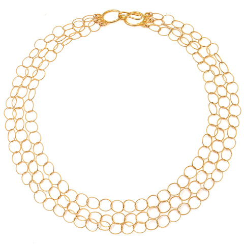 "Gold Filled Triple Strand ""Cleo"" Necklace"