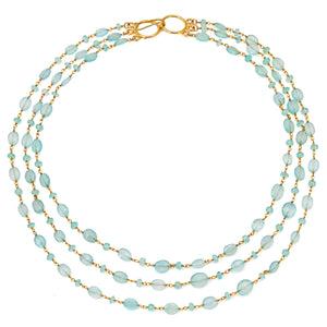 "Chalcedony Triple Strand ""Cleo"" Necklace - Gold"