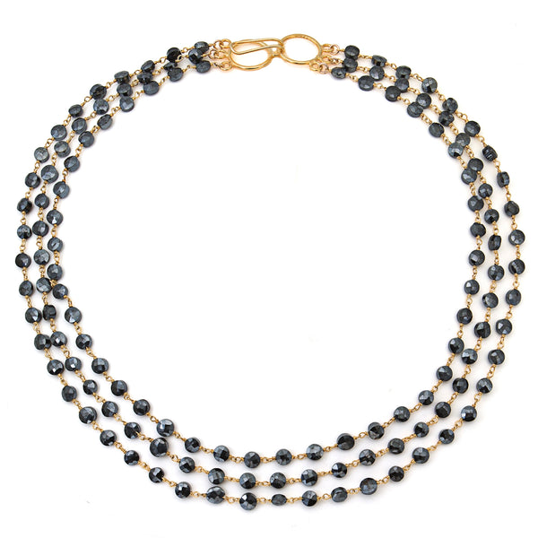 "Mystic Black Spinel Triple Strand ""Cleo"" Necklace - Gold"