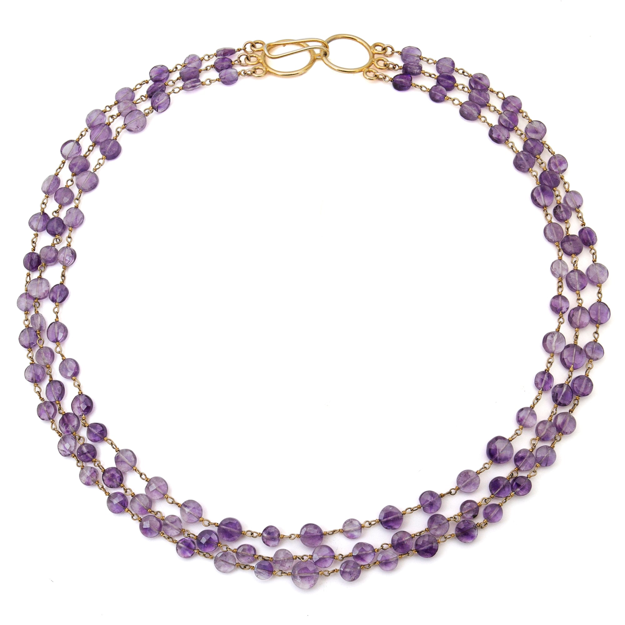 "Amethyst Triple Strand ""Cleo"" Necklace - Gold"