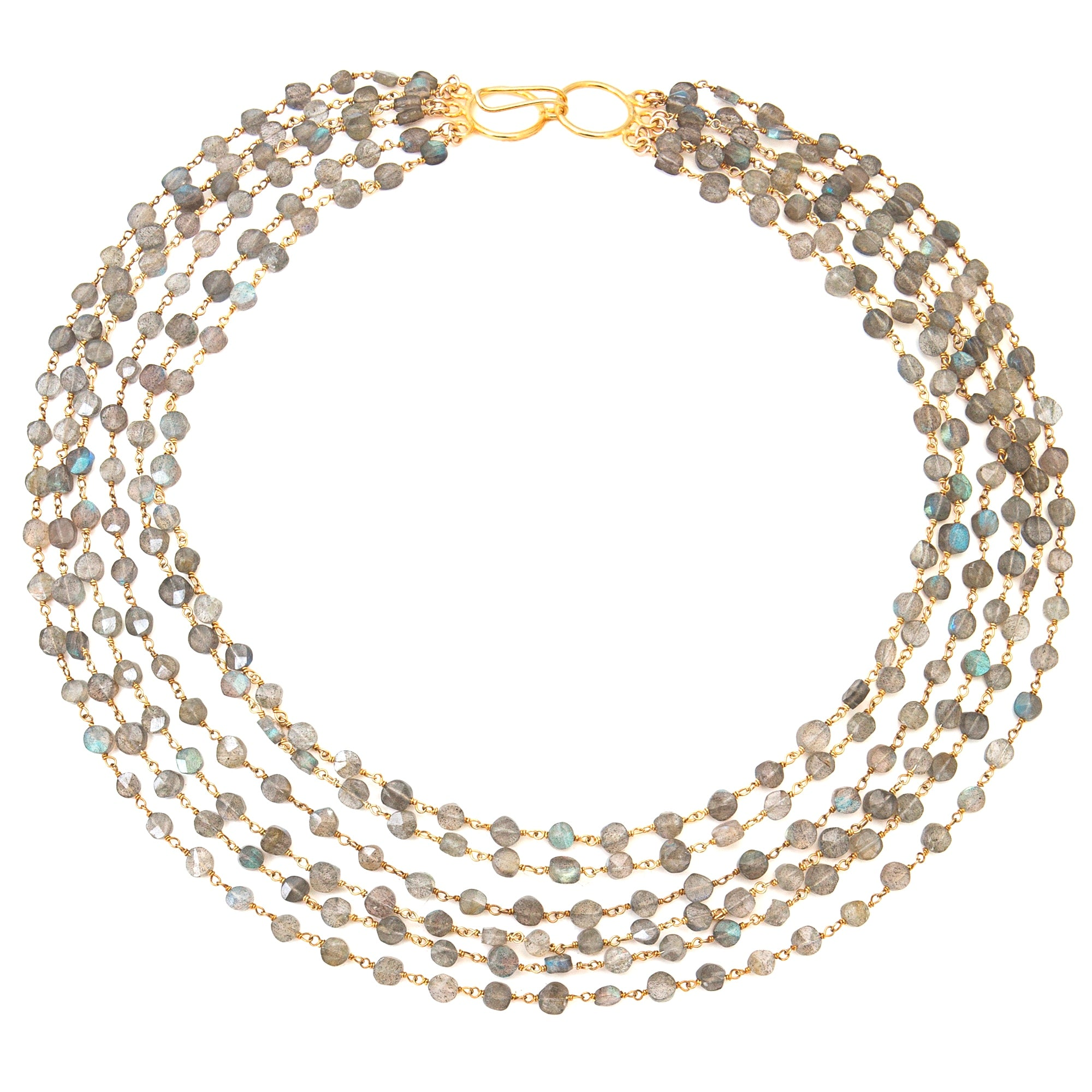 "2000 × 2000px  Labradorite 6 Strand ""Cleo"" Necklace - Gold"