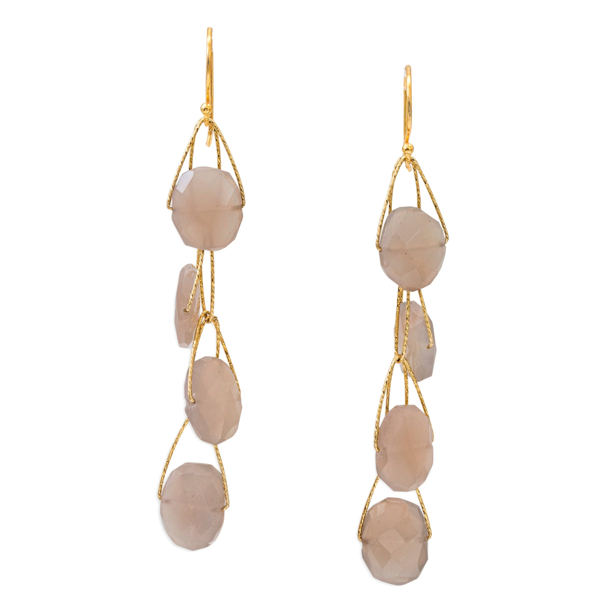 "Grey Moonstone 4 Stone ""Academy"" Earring"